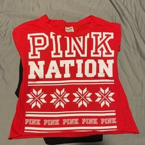 VS PINK pajamas with red crop top- XS/S
